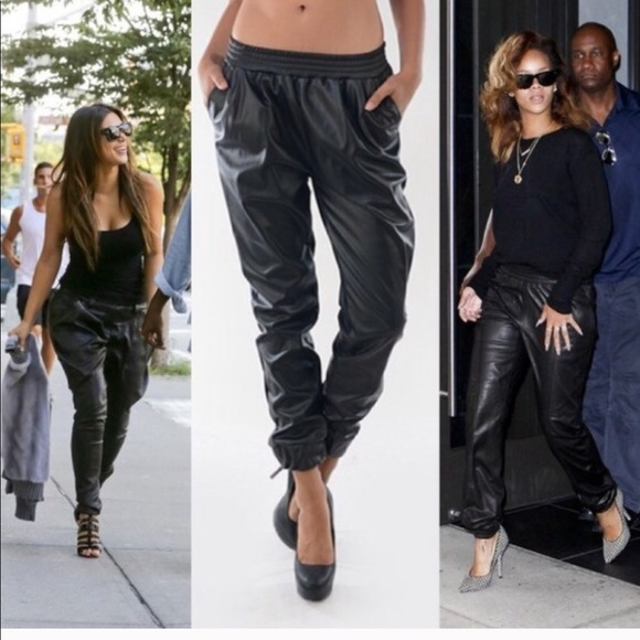 new & pre-owned designer search for authentic limpid in sight H&M Baggy Drawstring Faux Leather Jogger Pants